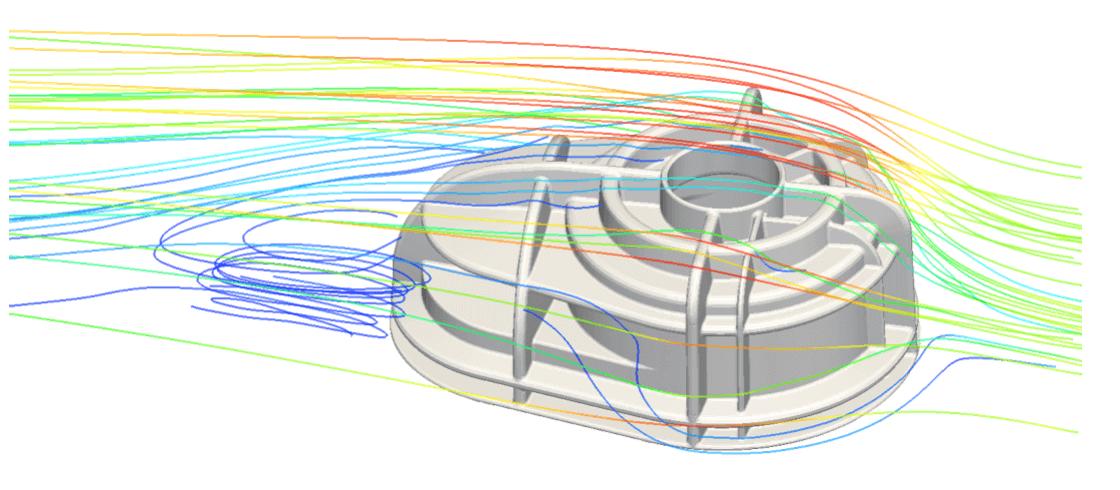 Stromlinien am aufgeheizten Getriebedeckel